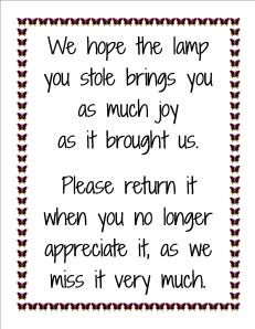 stolen lamp