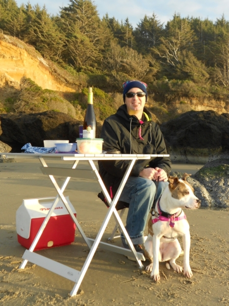 Husband and happy dog New Year's day on beach