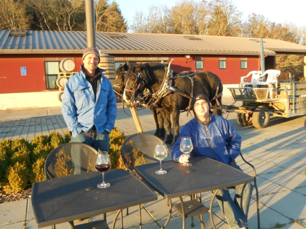 Illahe Vineyards patio with horse-drawn wagon