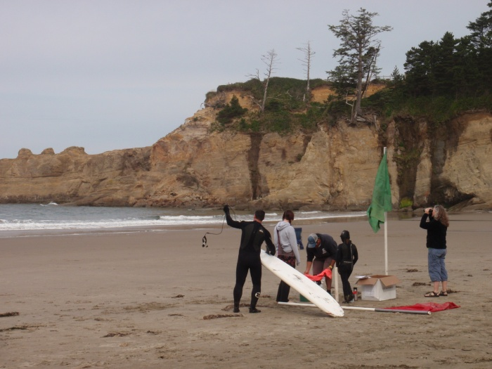 People on beach with surfboard