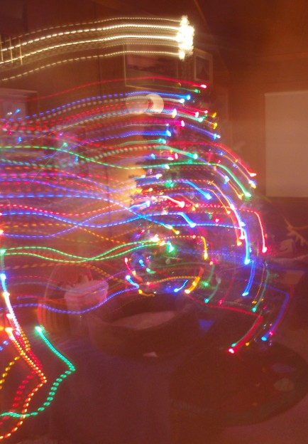 Christmas tree swirling lights