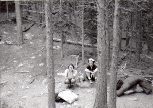 man and woman in forest