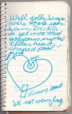 Hand-drawn diagram of a heart-shaped pool on lined notebook paper